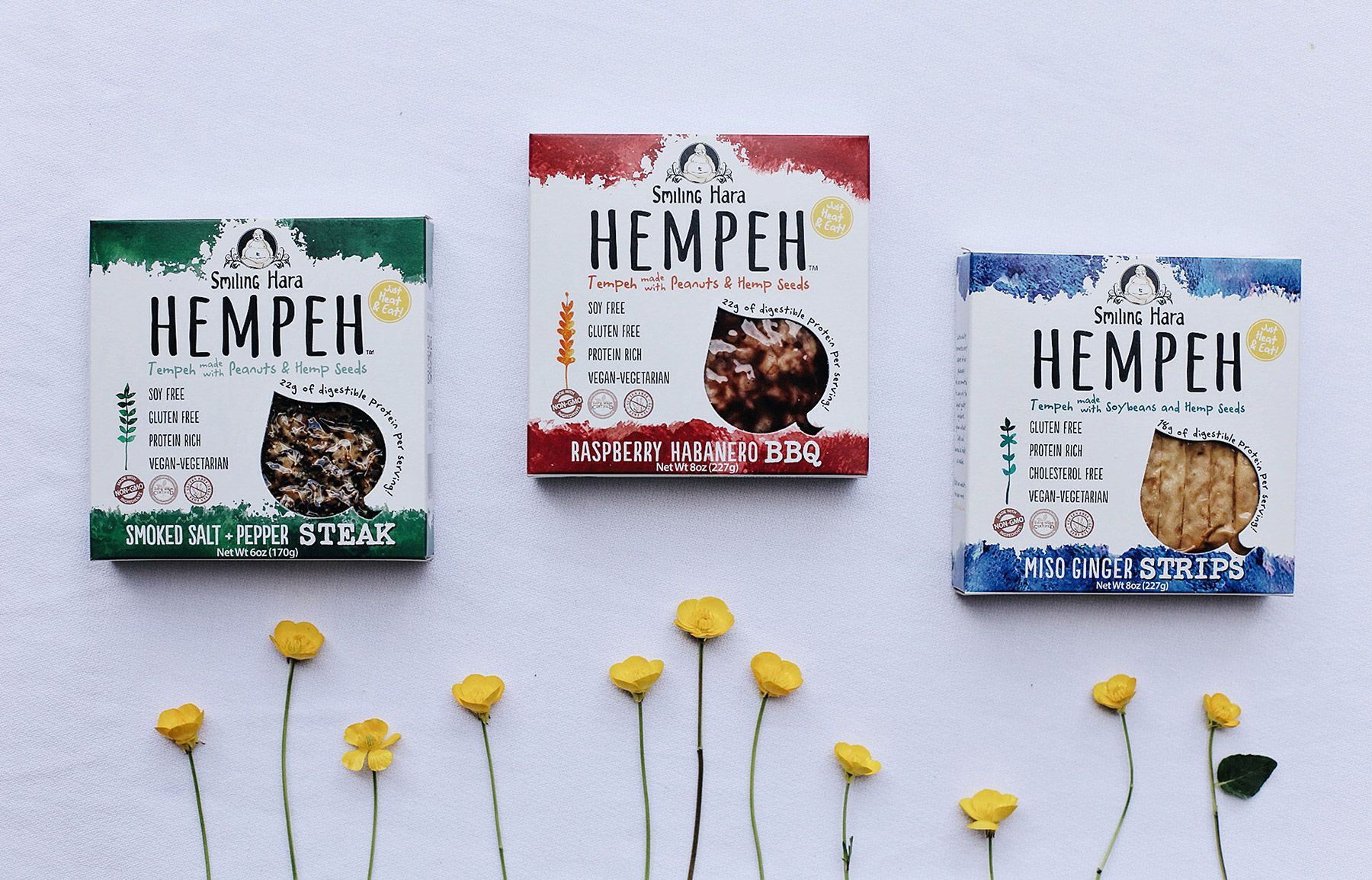 Three hempeh flavor packages