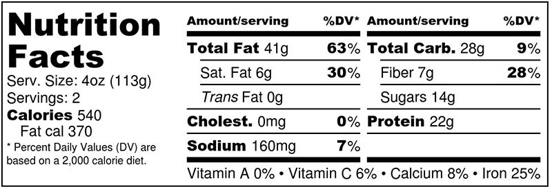 Rasberry habenero hempeh nutrition label