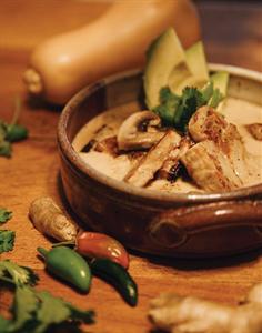 Spicy Coconut Broth with Peanut Hempeh