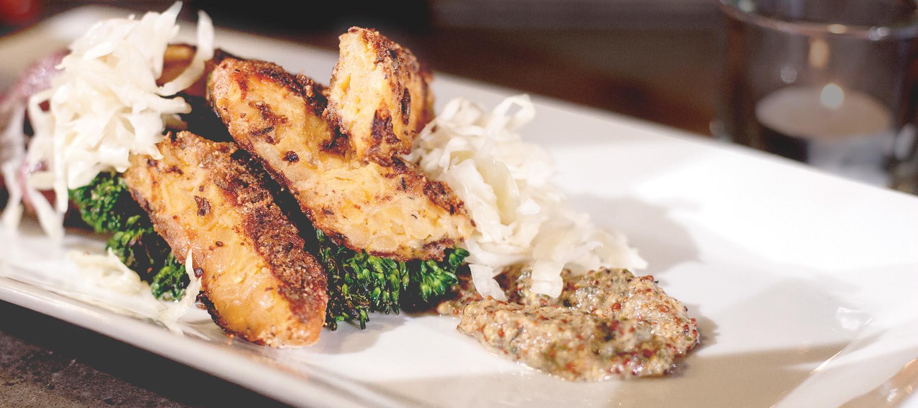A healthy tempeh dish at a restaurant